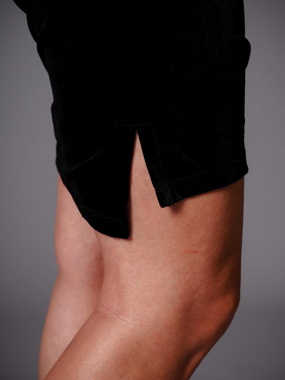 black velvet short sleeve shift dress
