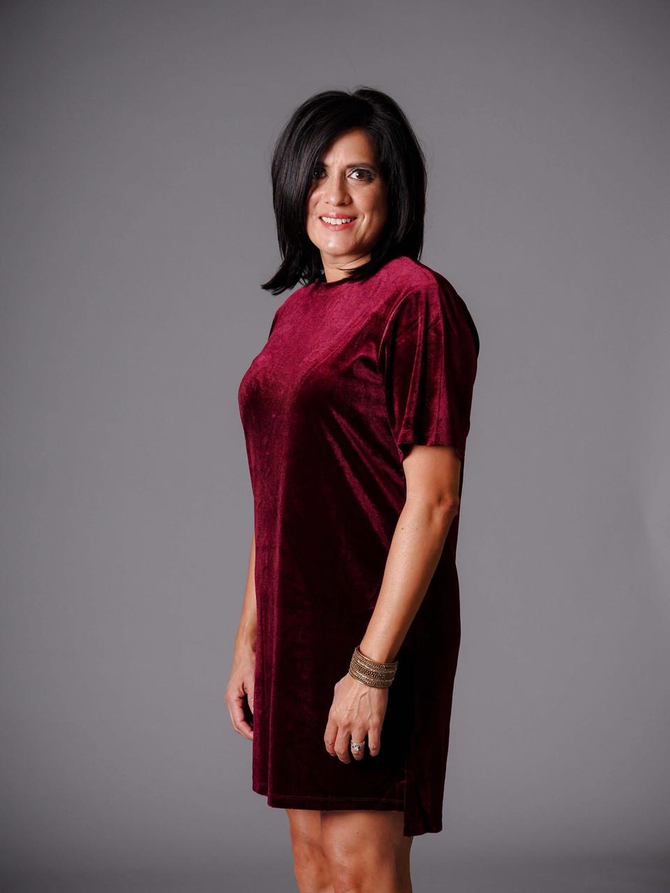 burgundy velvet short sleeve shift dress