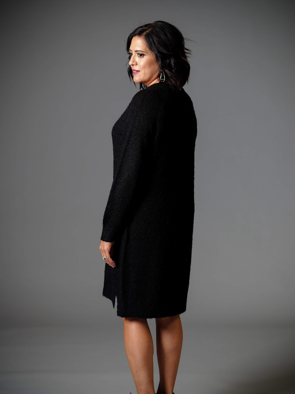 black crew neck sweater dress