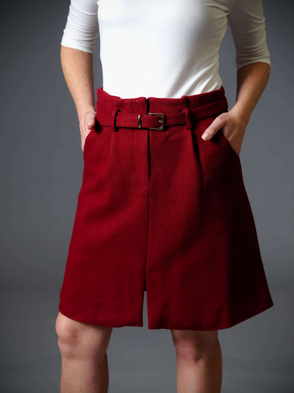 burgundy wool belted a-line skirt