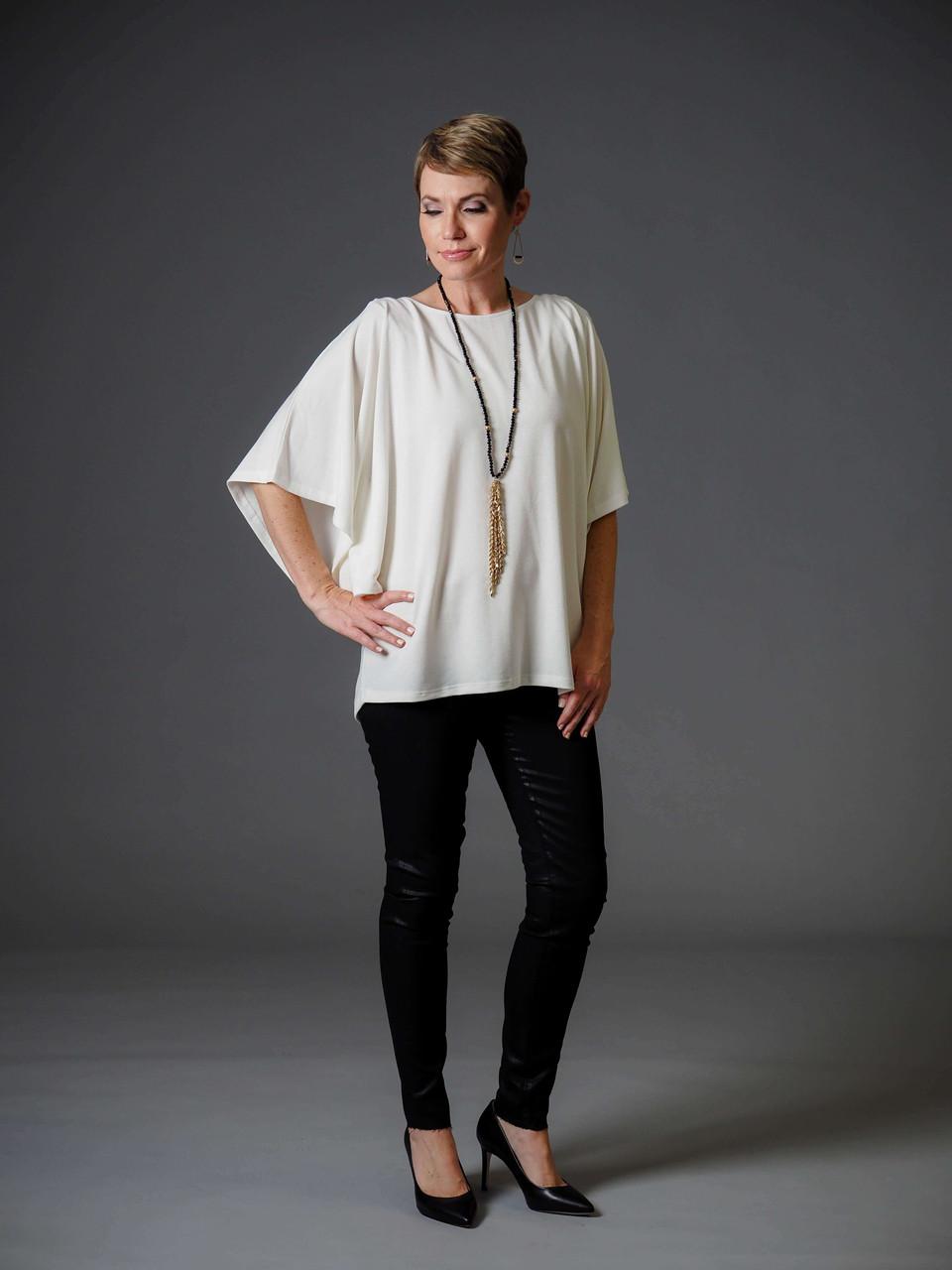 cream kimono sleeve knit top