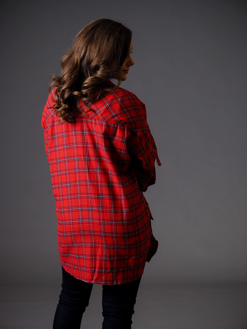 red plaid lightweight shirt jacket