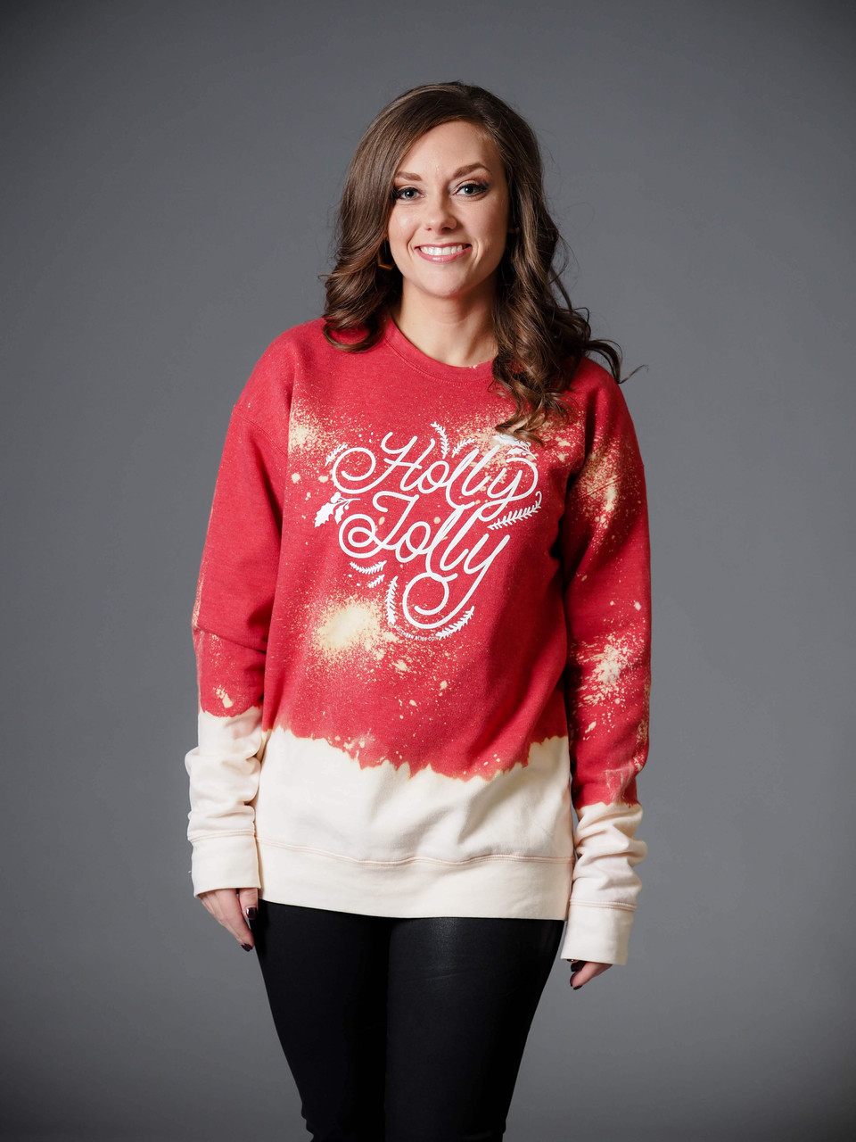 red oversized holly jolly sweatshirt