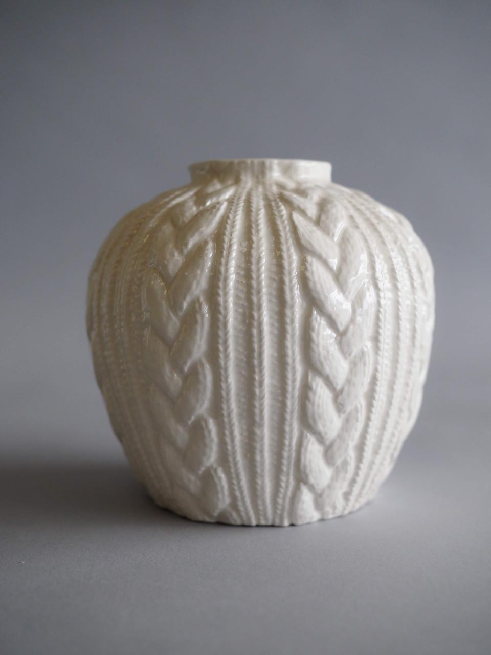 ceramic cream cable knit textured vase