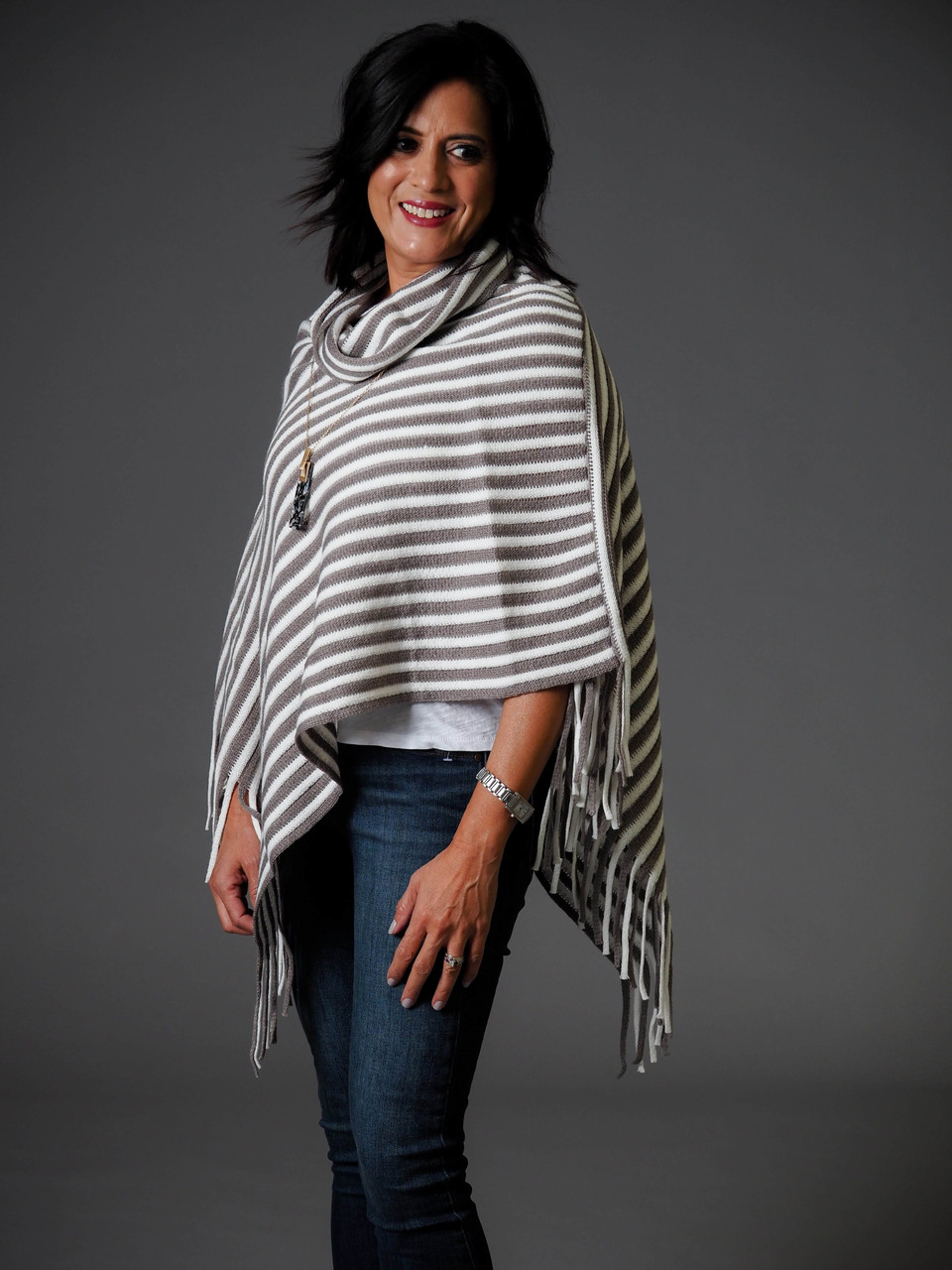 taupe and cream cowl neck poncho