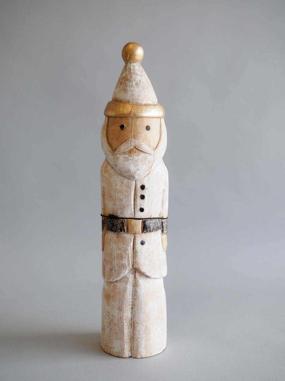 whitewashed carved wood santa