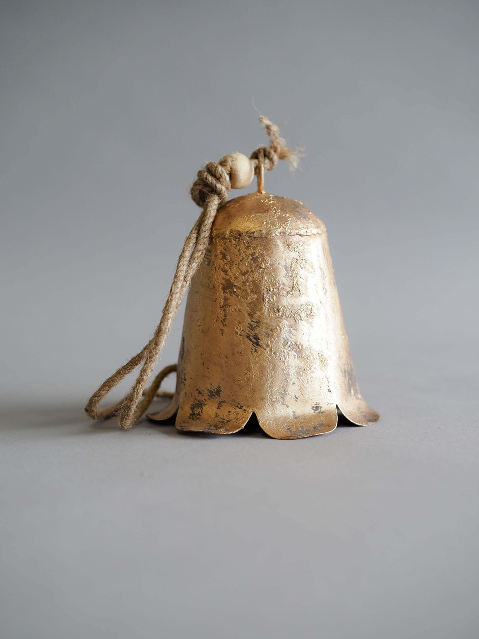 distressed metal gold bell