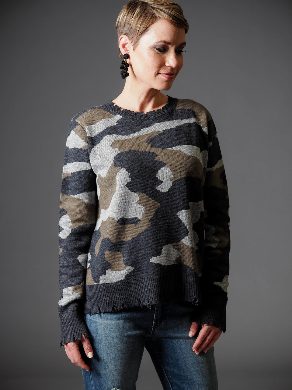 distressed green gray white camo sweater