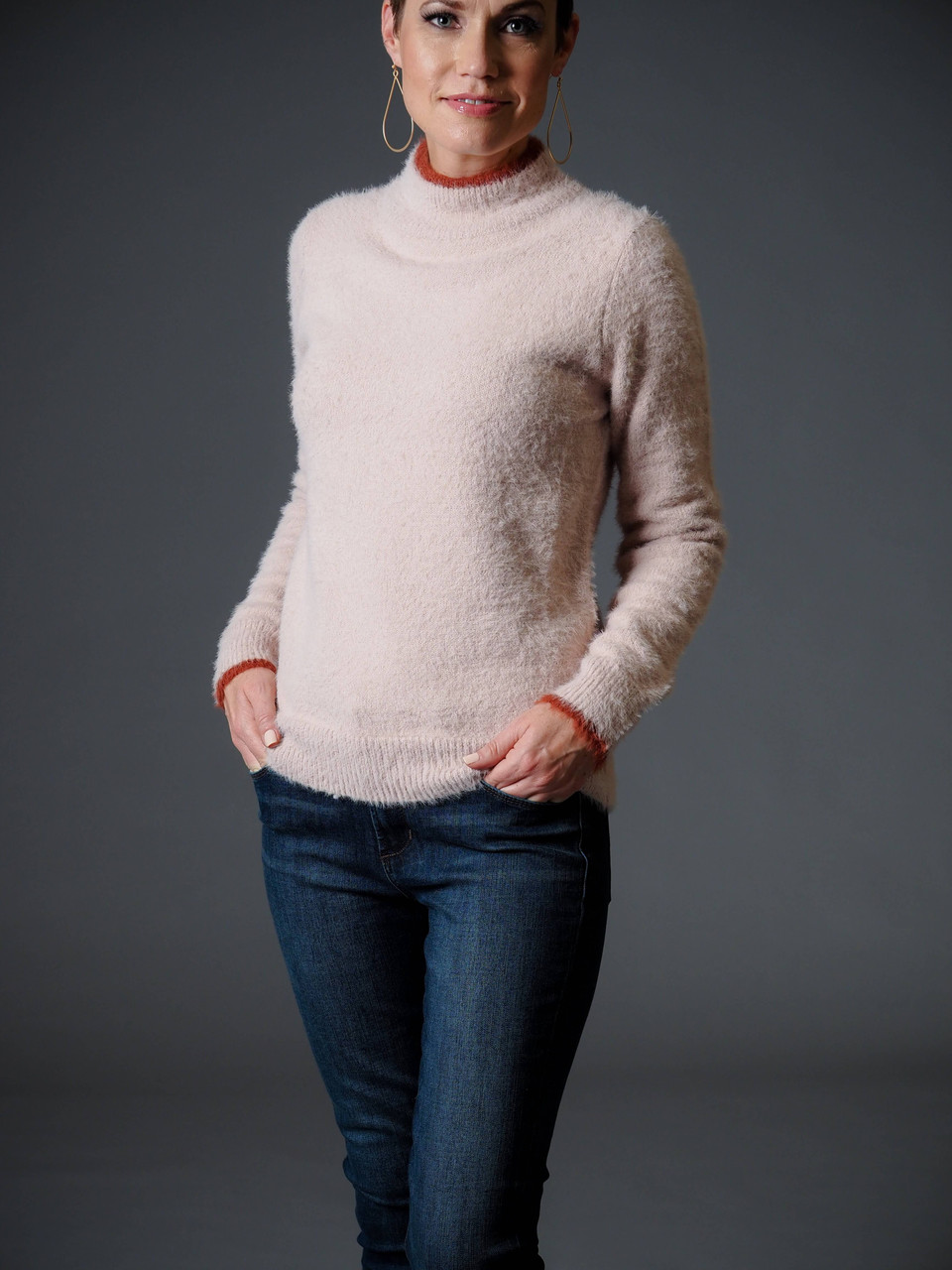 pink and rust mock neck sweater