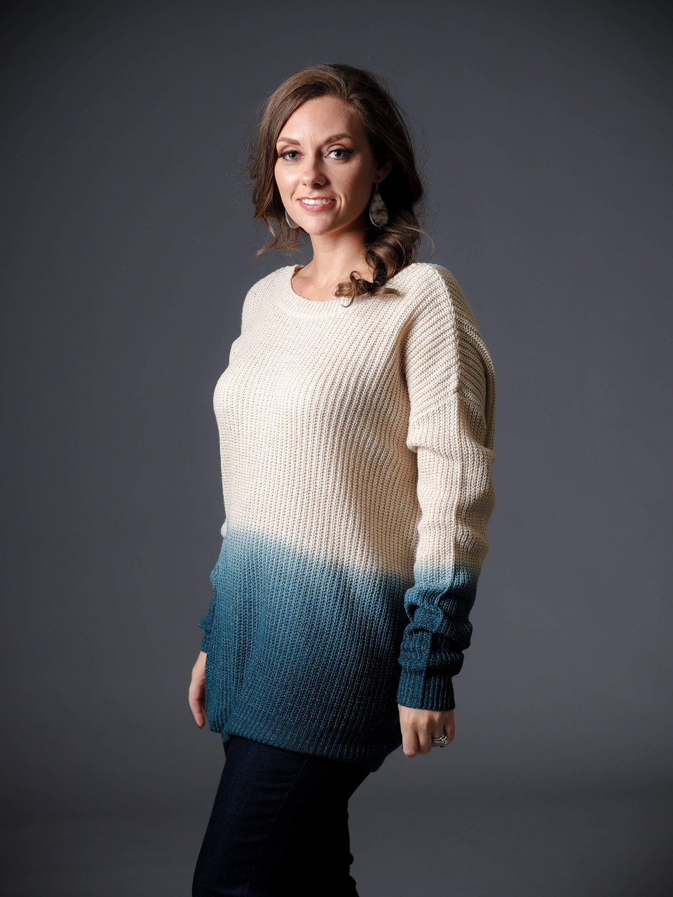 turquoise ombre deep v back sweater