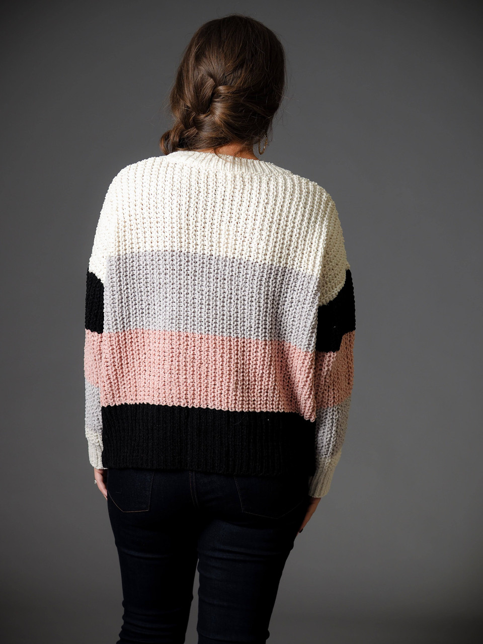 pink gray black and cream striped scoop neck sweater