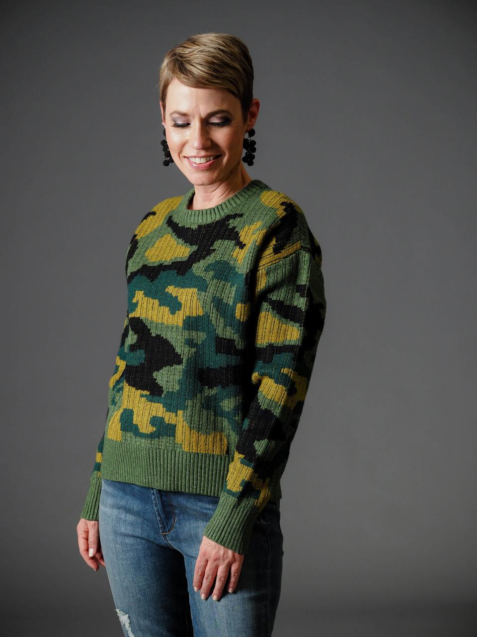 green yellow and black camo jacquard sweater