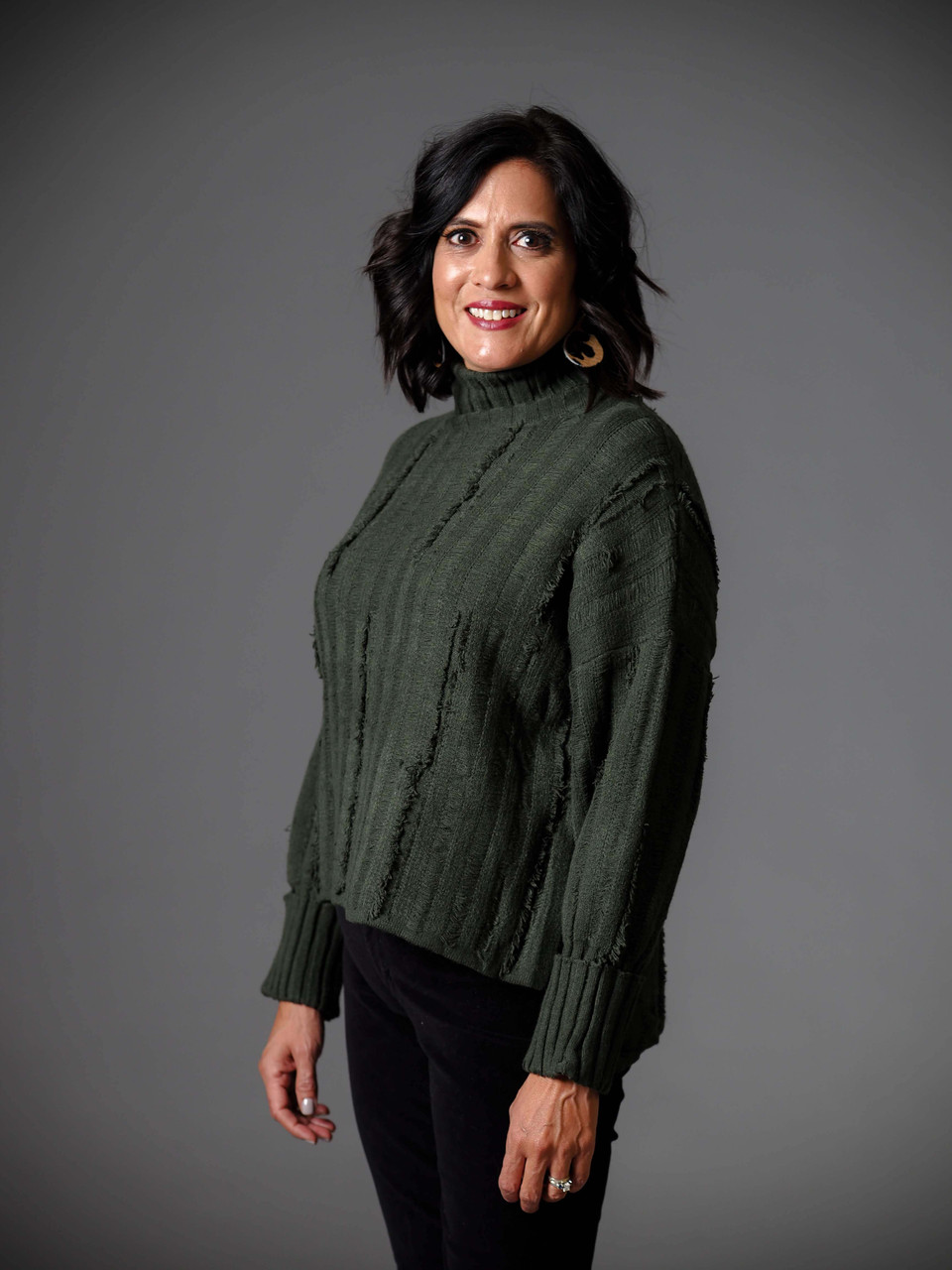 hunter green distressed turtleneck sweater