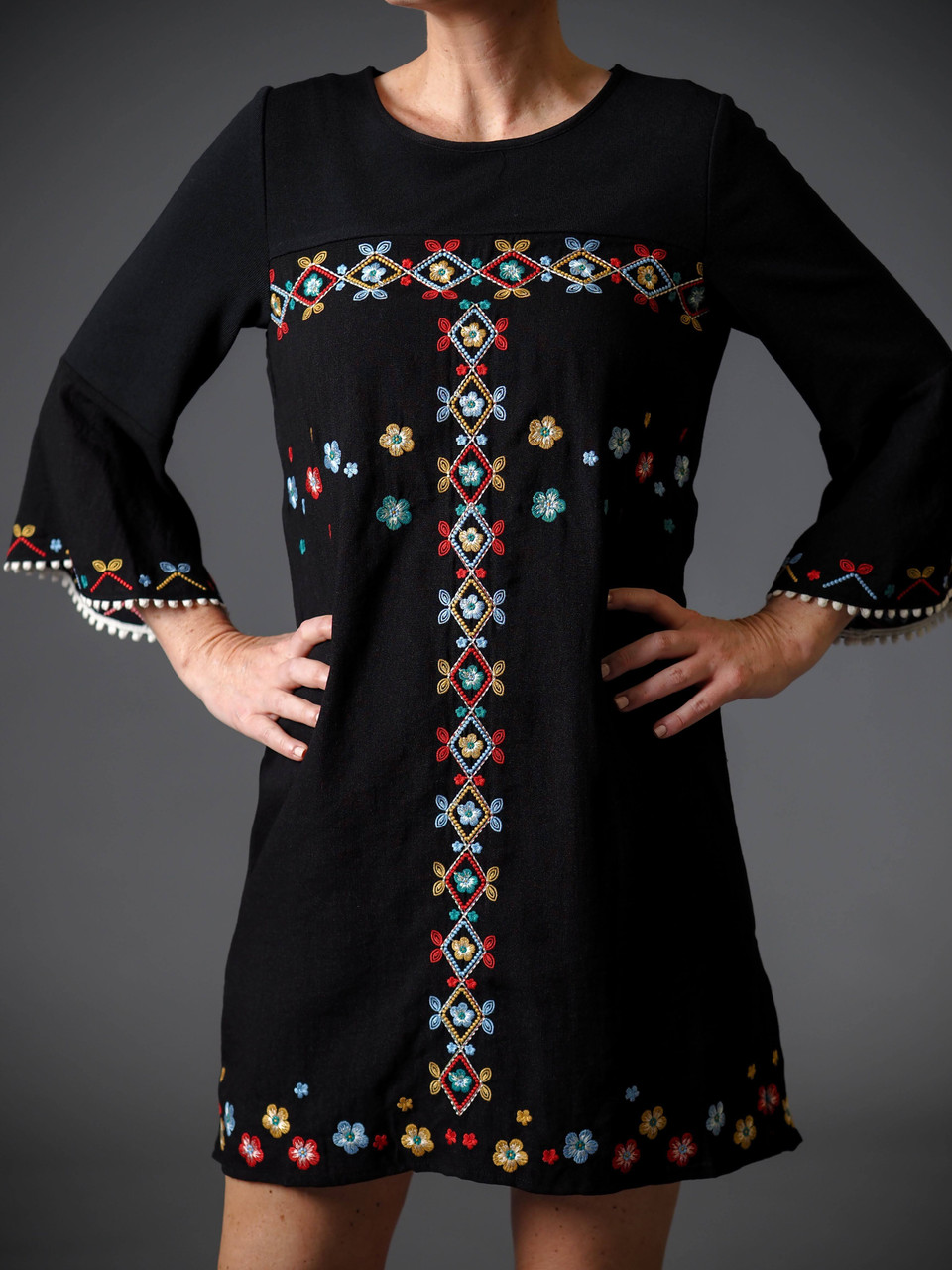 black lined embroidered bell sleeve dress