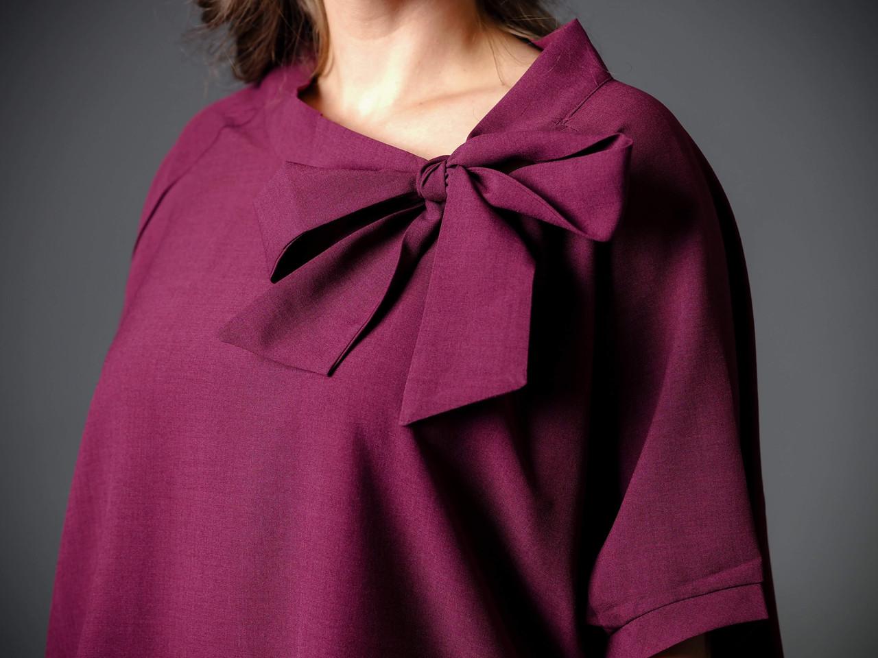 burgundy tie neck tunic