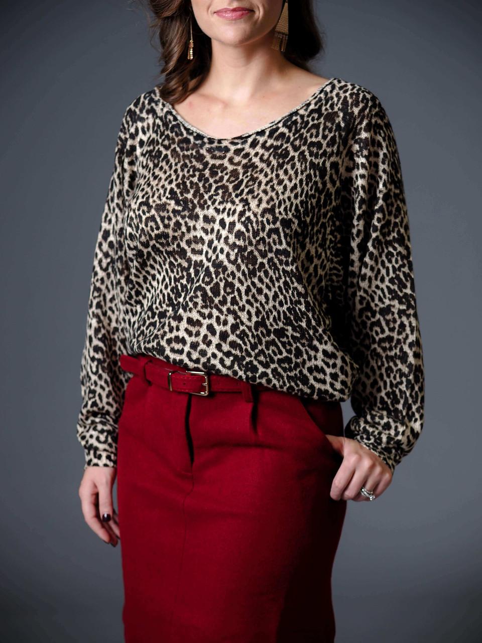 black and tan v neck cheetah print top