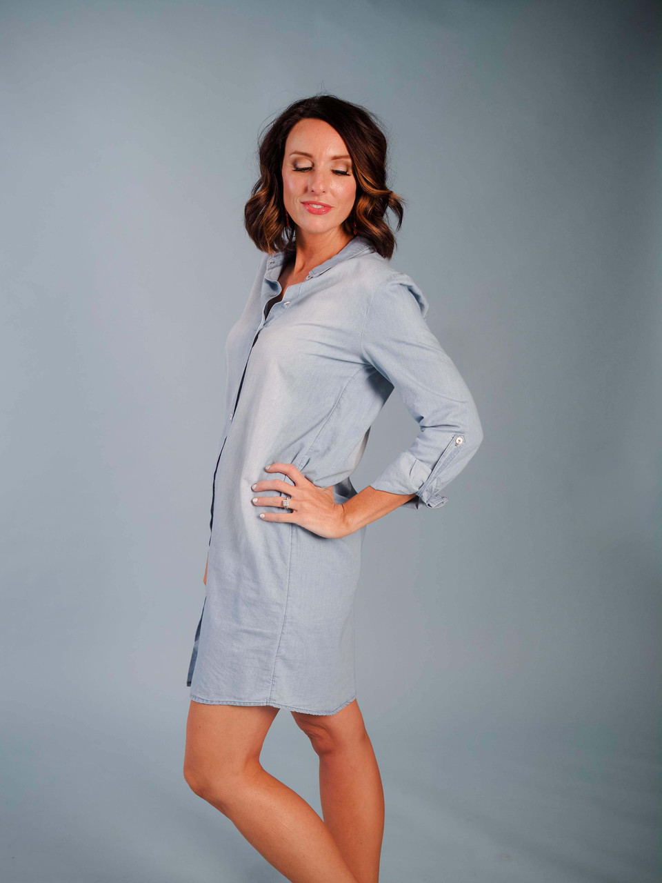 blue chambray button down dress