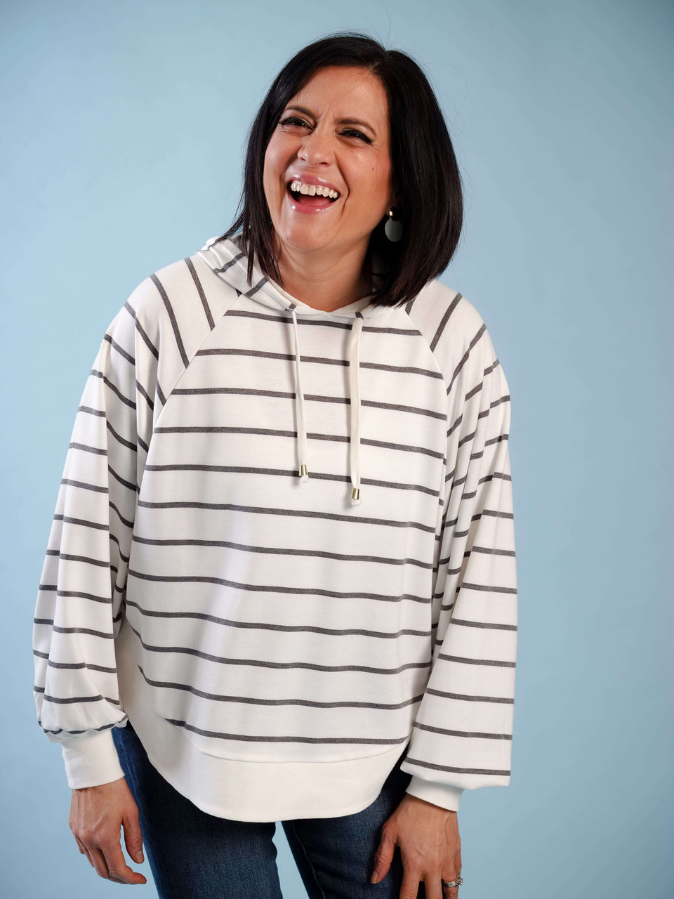 Striped light weight striped hoodie
