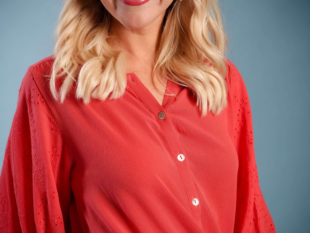 Coral button down blouse High/low hem Balloon sleeve with lace detail