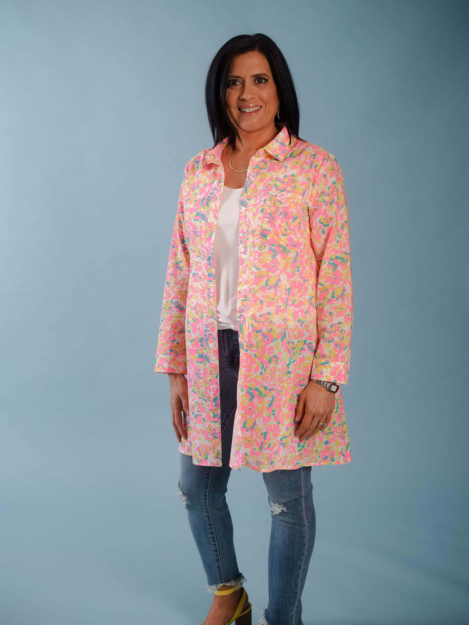 Neon pattern button down coverup duster