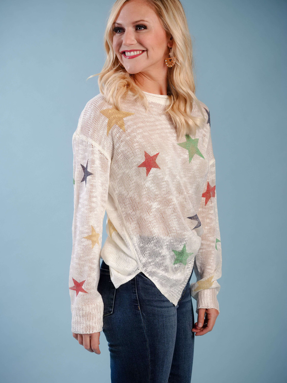 lightweight sheer sweater with colorful star detail