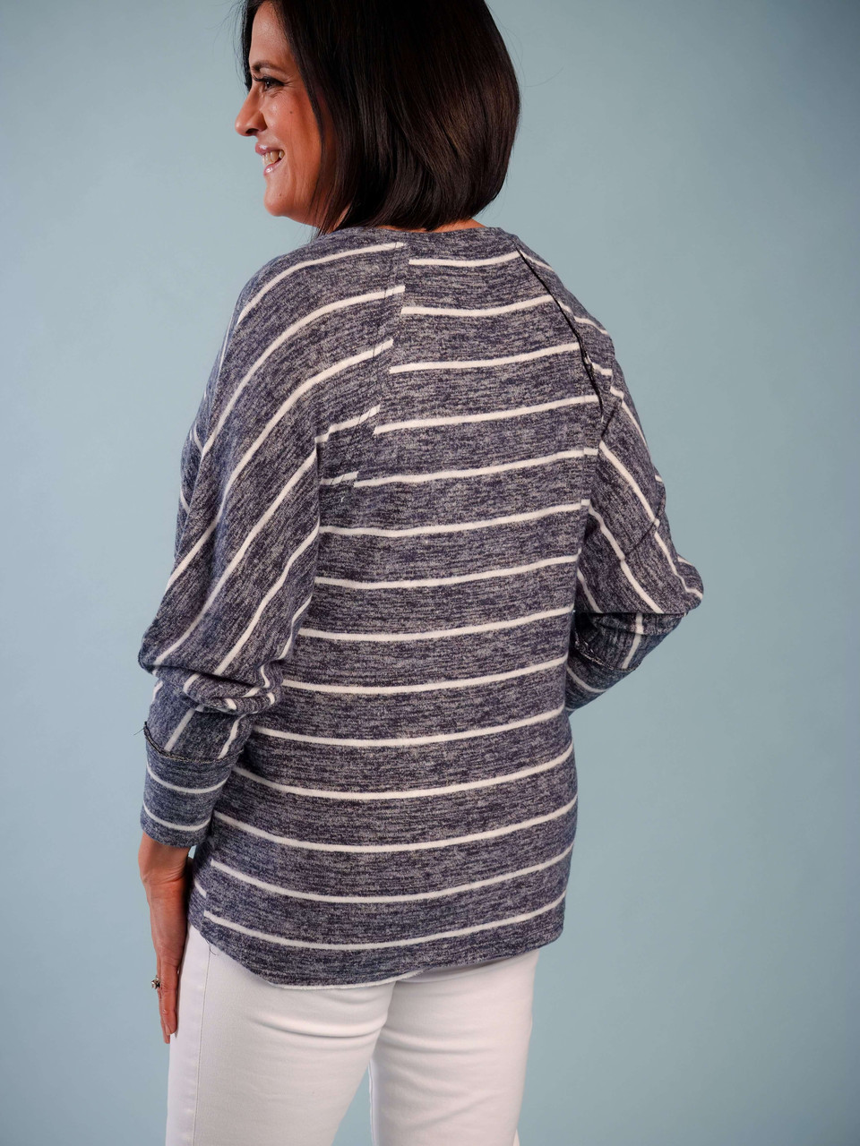 Soft knit round neck striped top