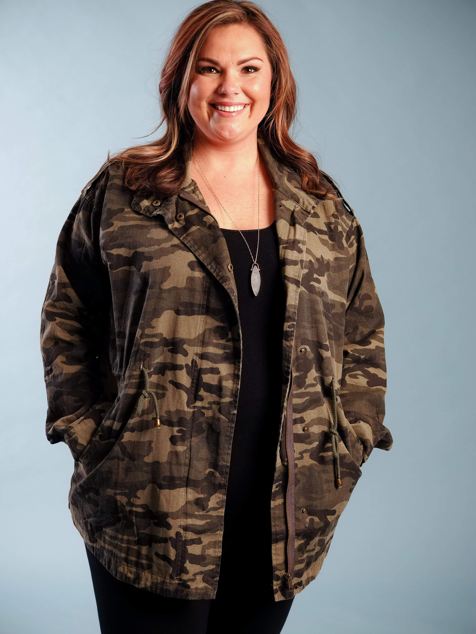 camo jacket with side pockets and drawstring waist plus clothing curvy