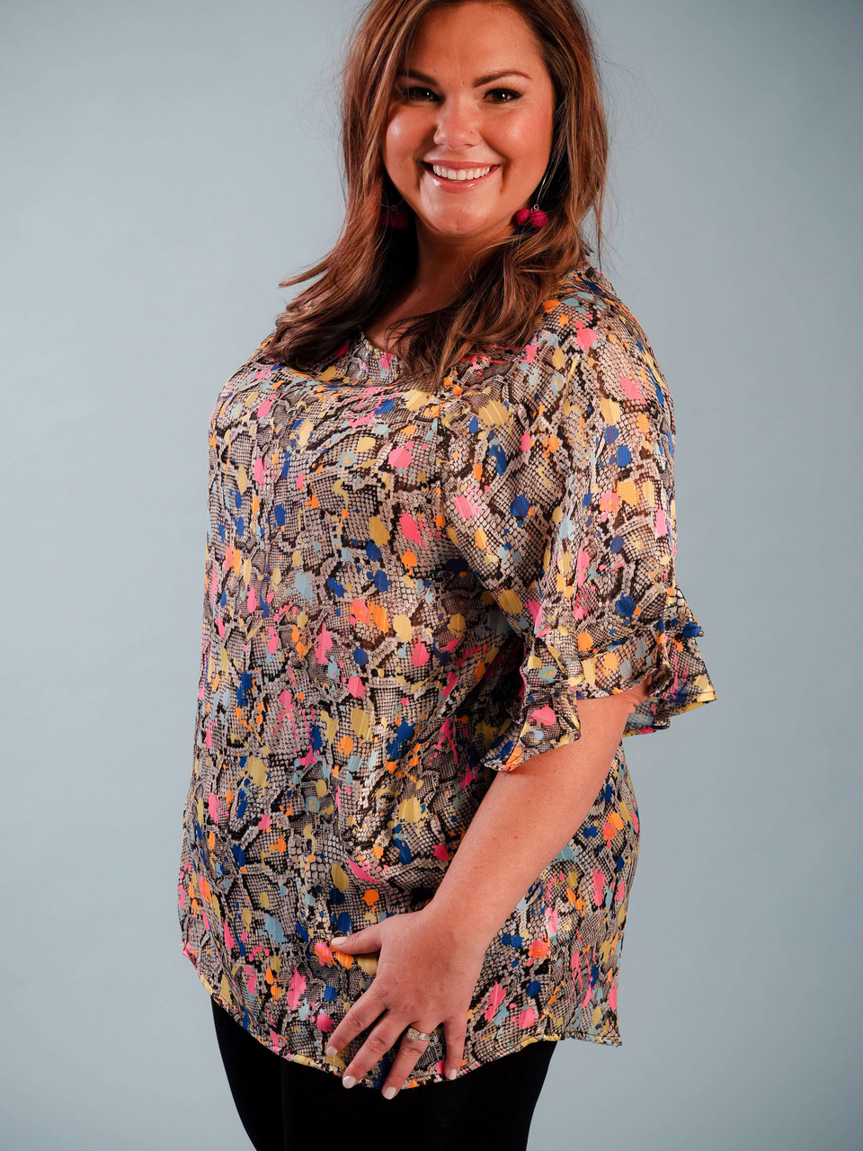 snakeskin printed blouse with neon colors and metallic detail plus clothing curvy