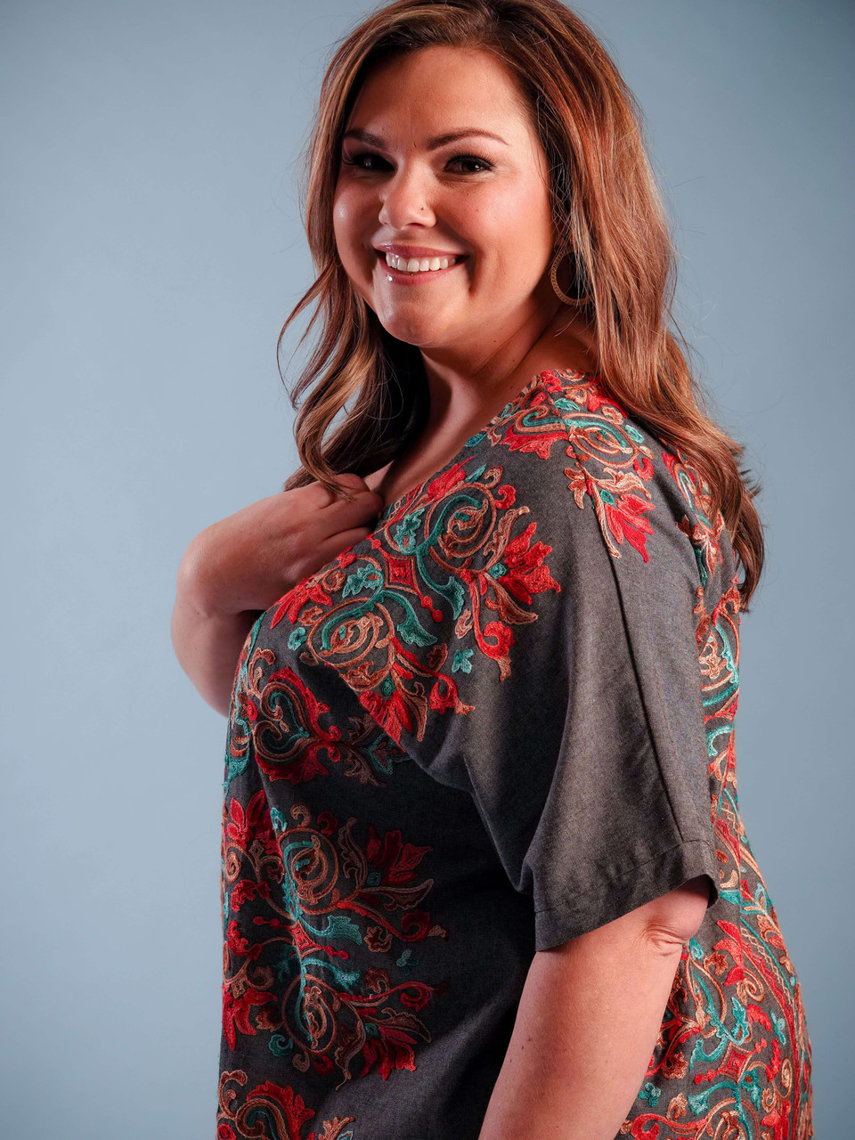 short sleeve embroidered top plus clothing curvy