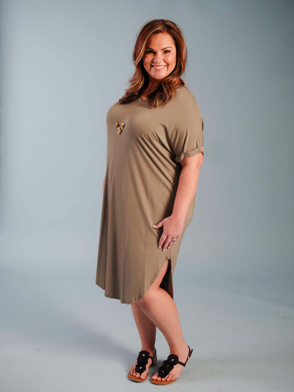 olive jersey knit dress v-neck side slit plus clothing curvy