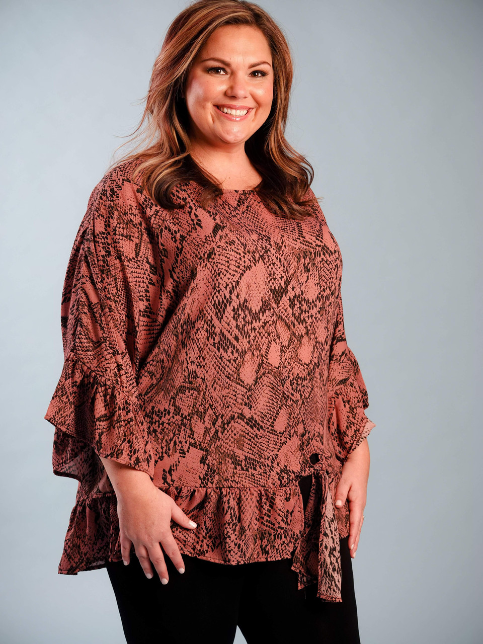pink and black snakeprint blouse plus clothing curvy