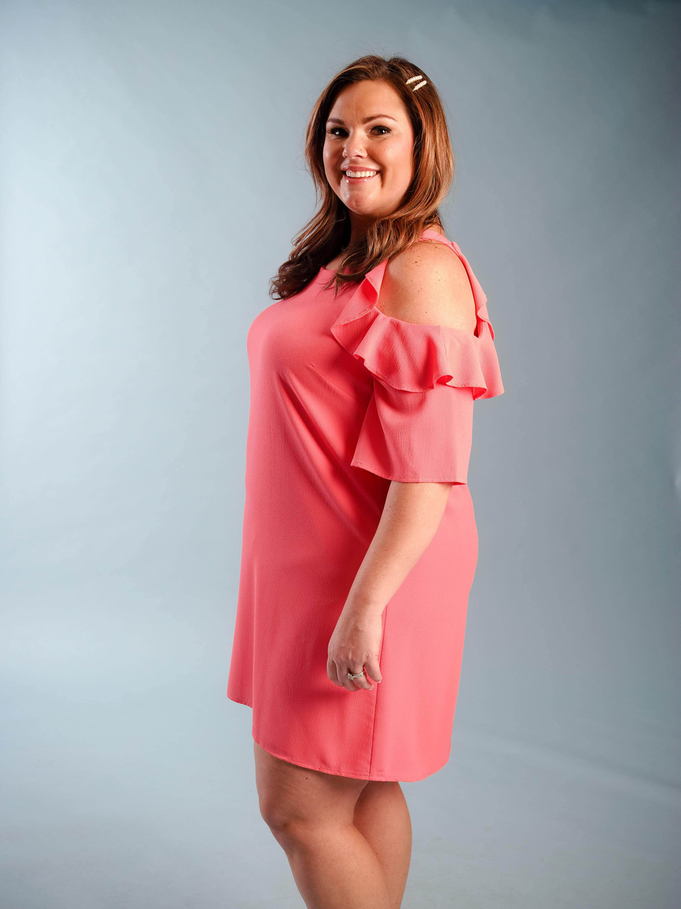 Ruffle cold shoulder dress coral plus clothing curvy