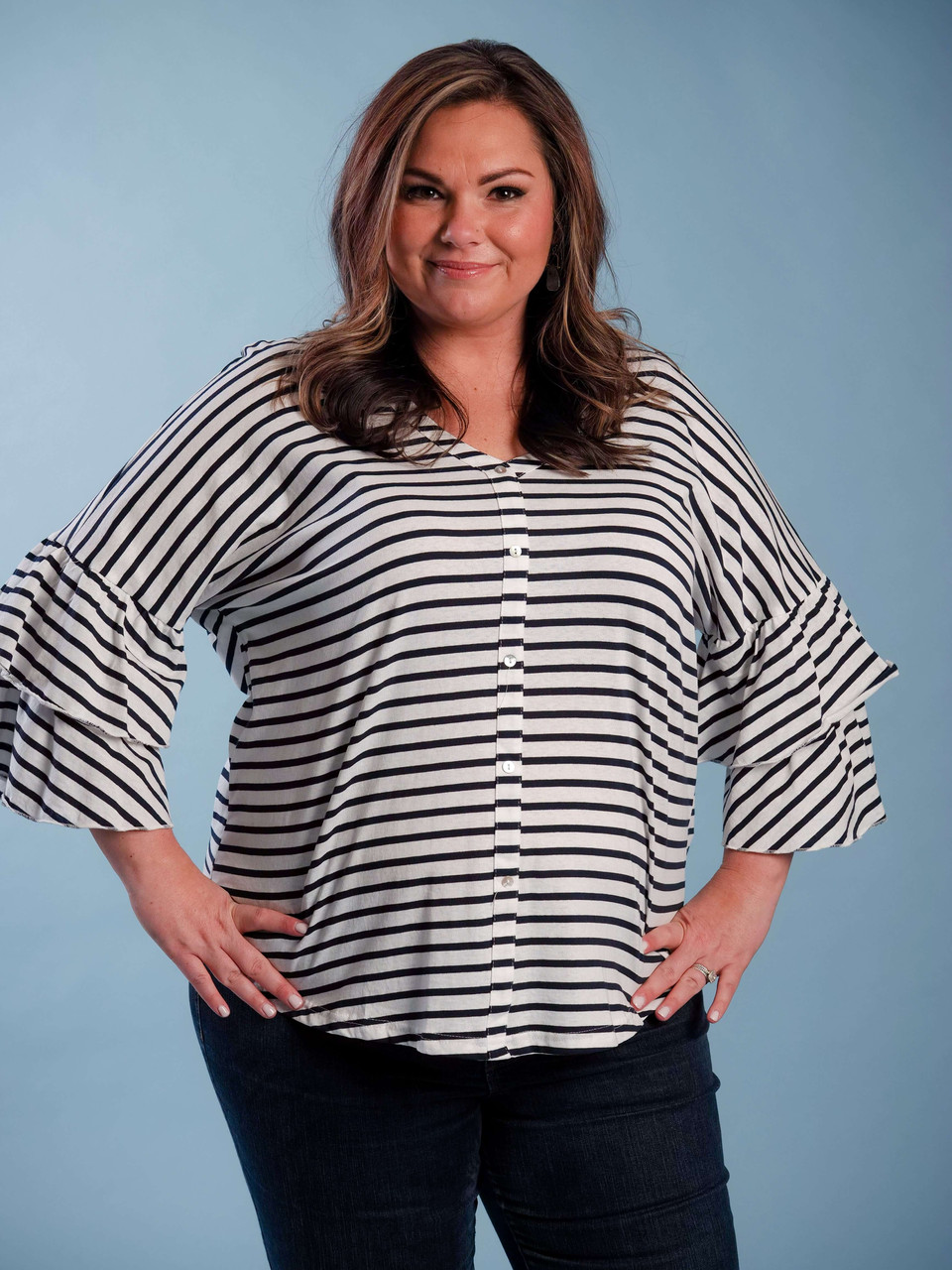 Navy and white striped top with bell sleeve plus clothing curvy