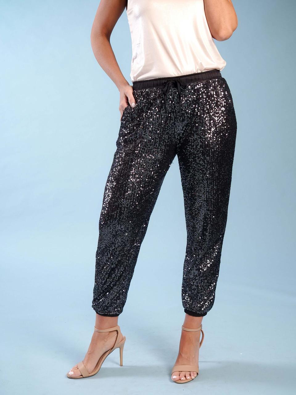 lined sequins jogger elastic drawstring waist