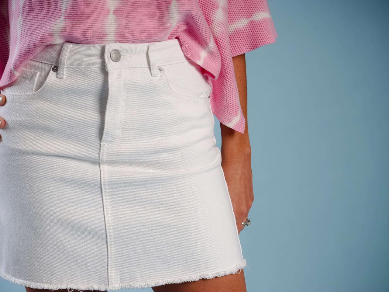 white denim frayed hem skirt