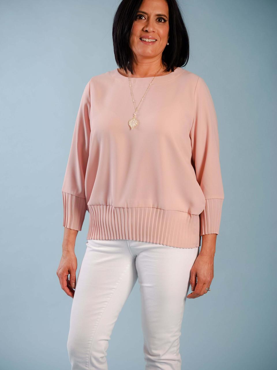 blush blouse pleated cuff and hem