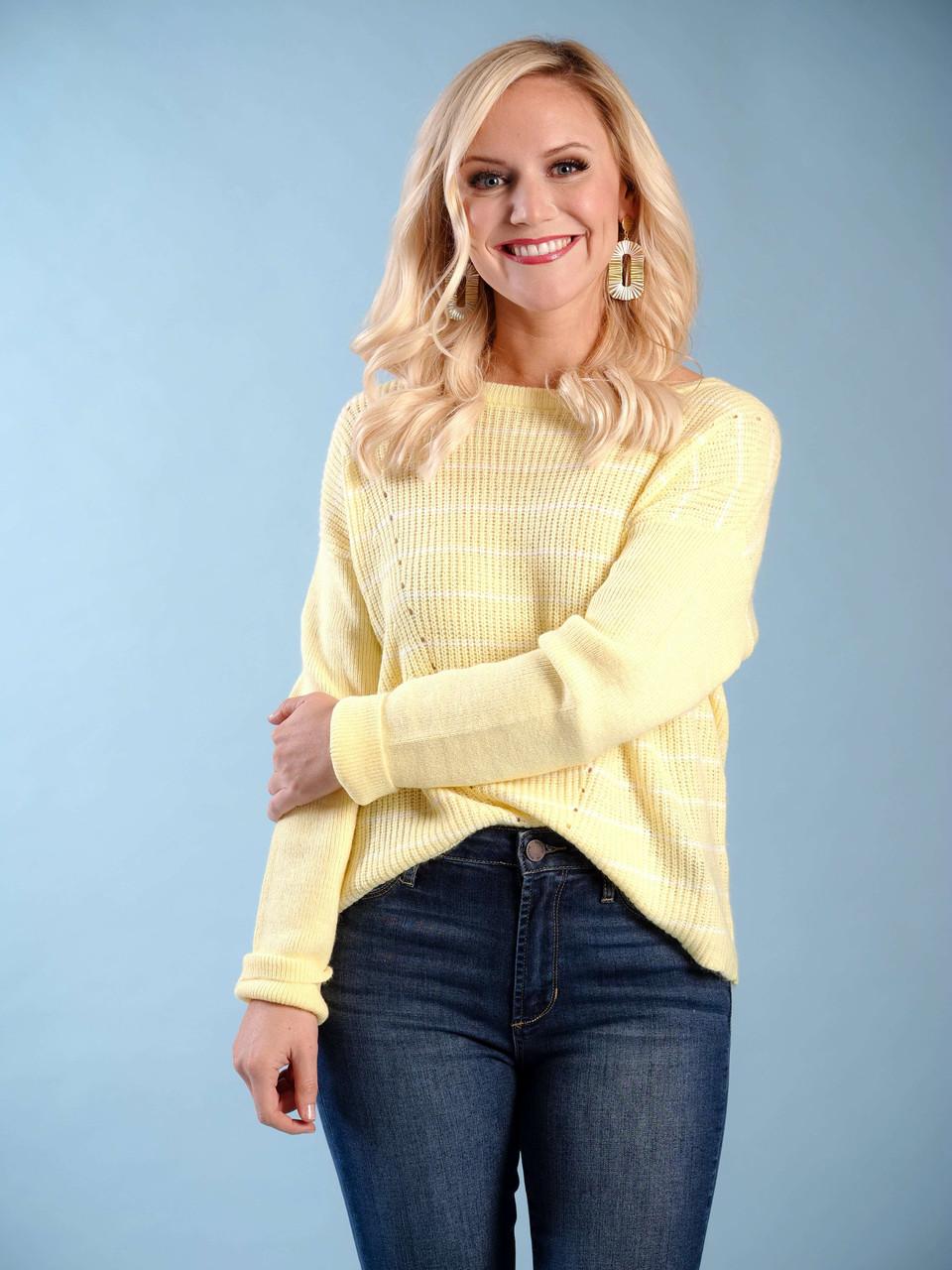 yellow sweater white pin stripe V detail lightweight