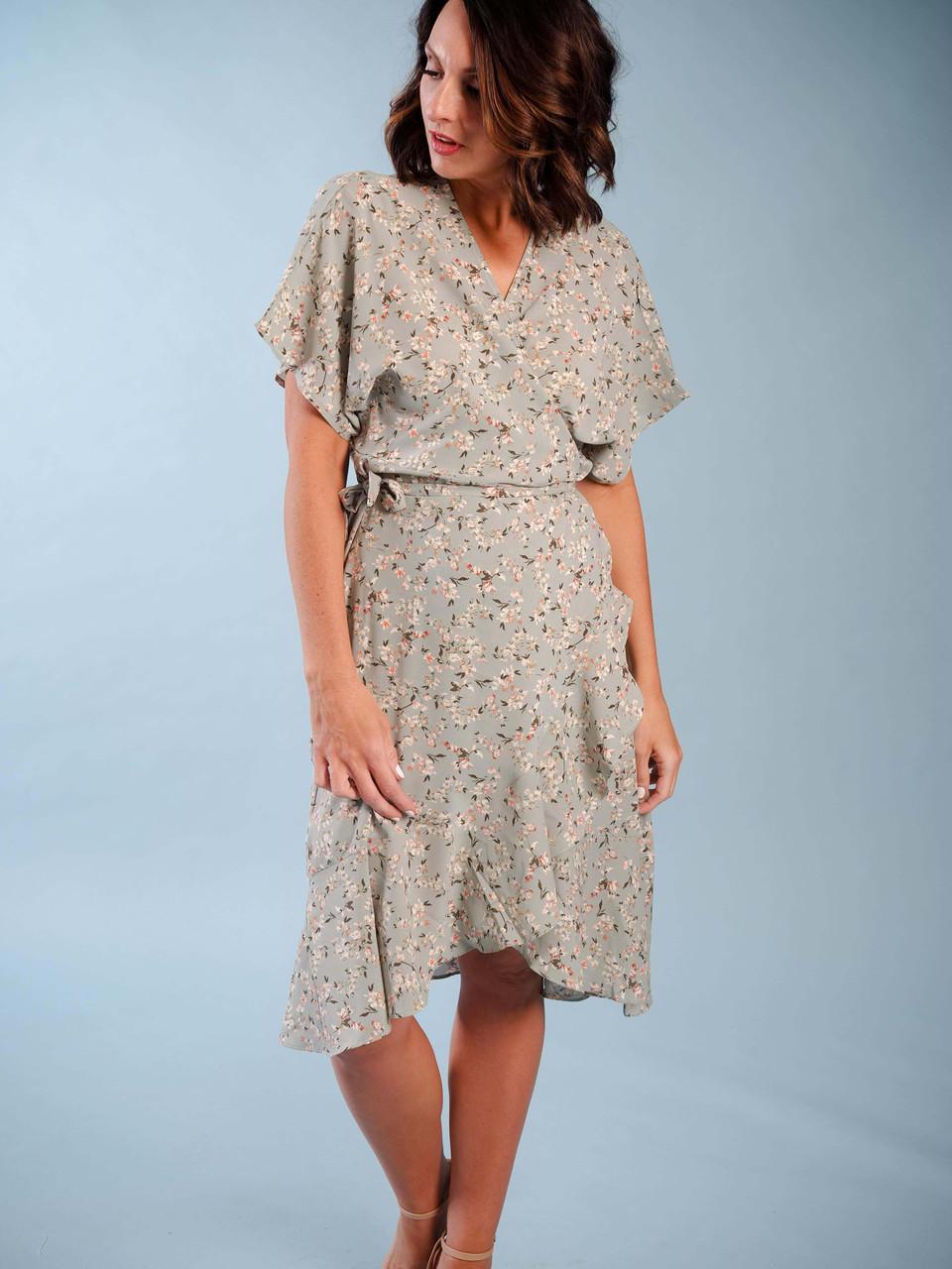 one size wrap dress high/low hem ruffle detail