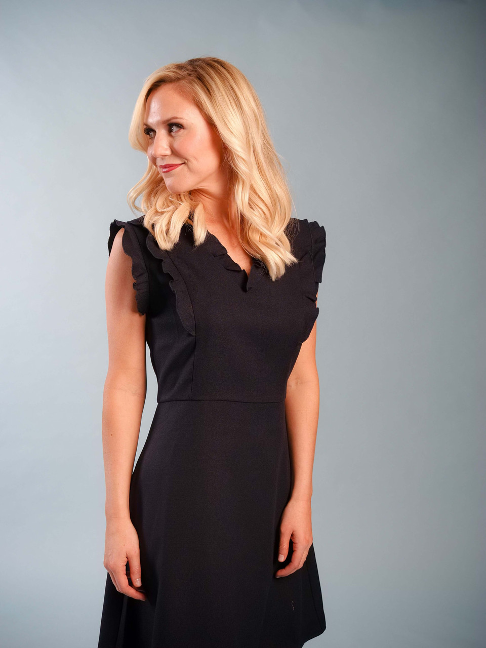 Lined navy dress with ruffle detail
