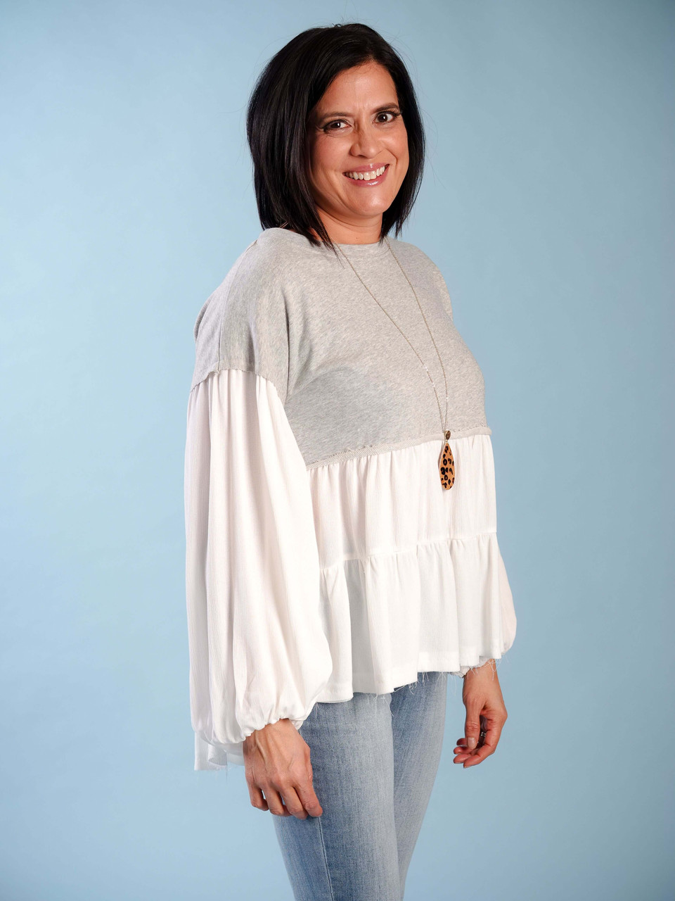 prarie style oversized gray and white top