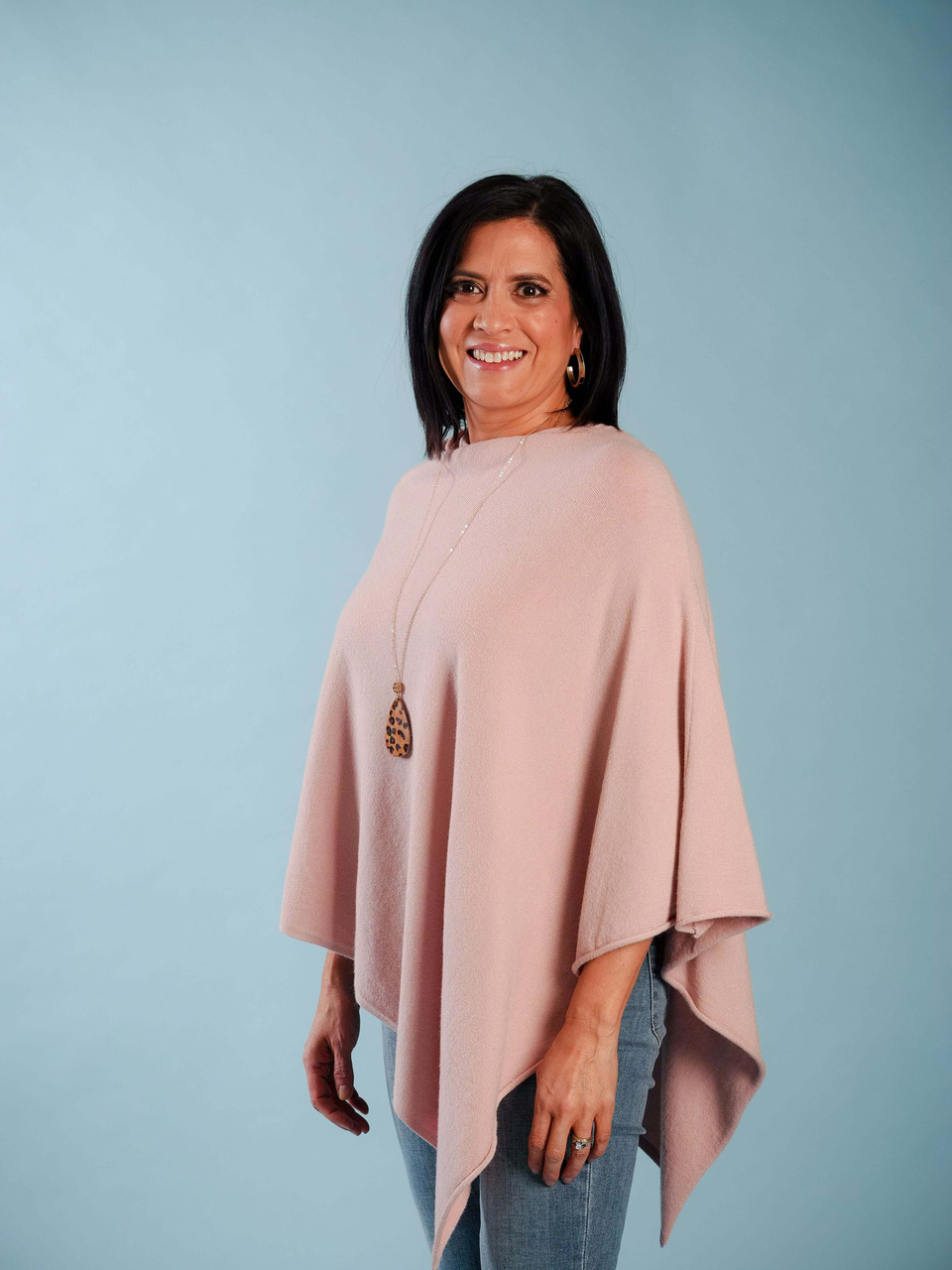 lightweight wool poncho asymmetrical hem