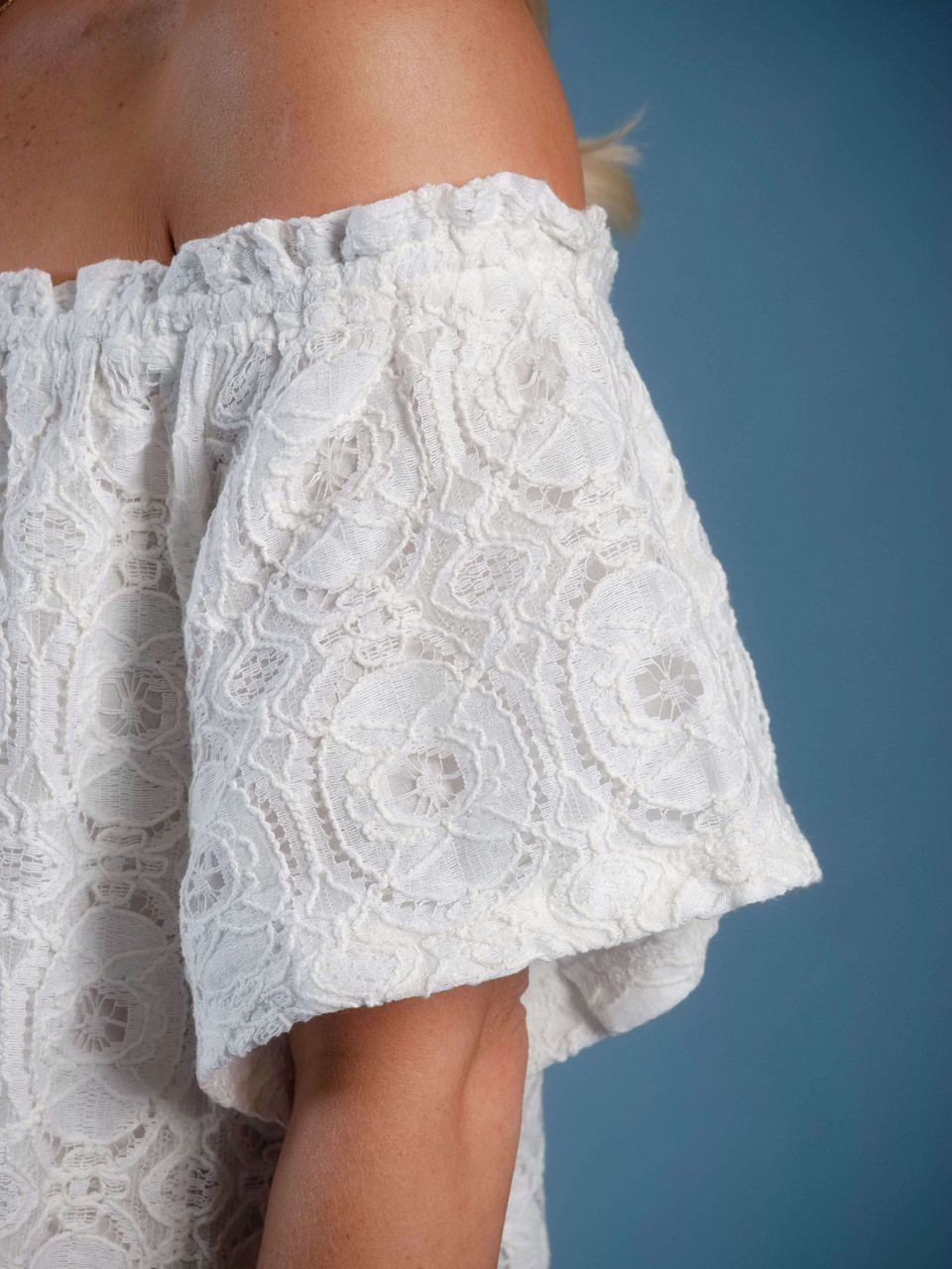 lined white dress lace overlay off the shoulder