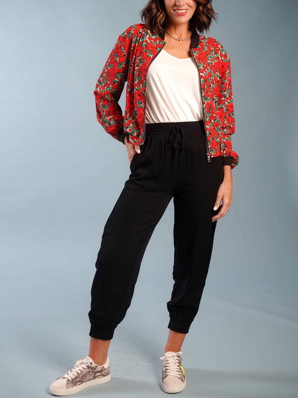 red floral bomber jacket lightweight