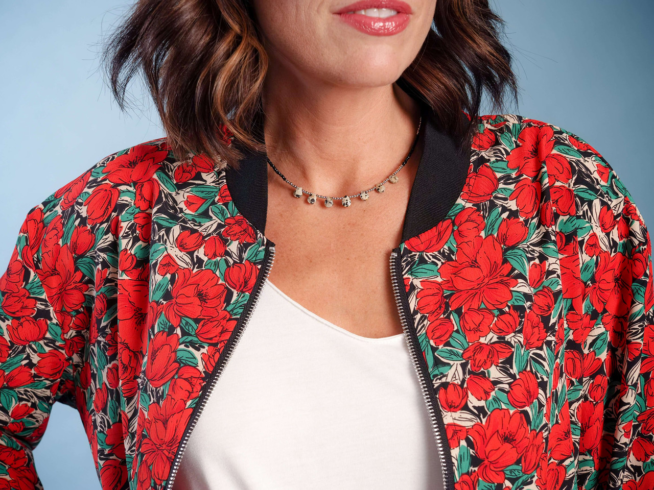 red floral bomber jacket lightweight