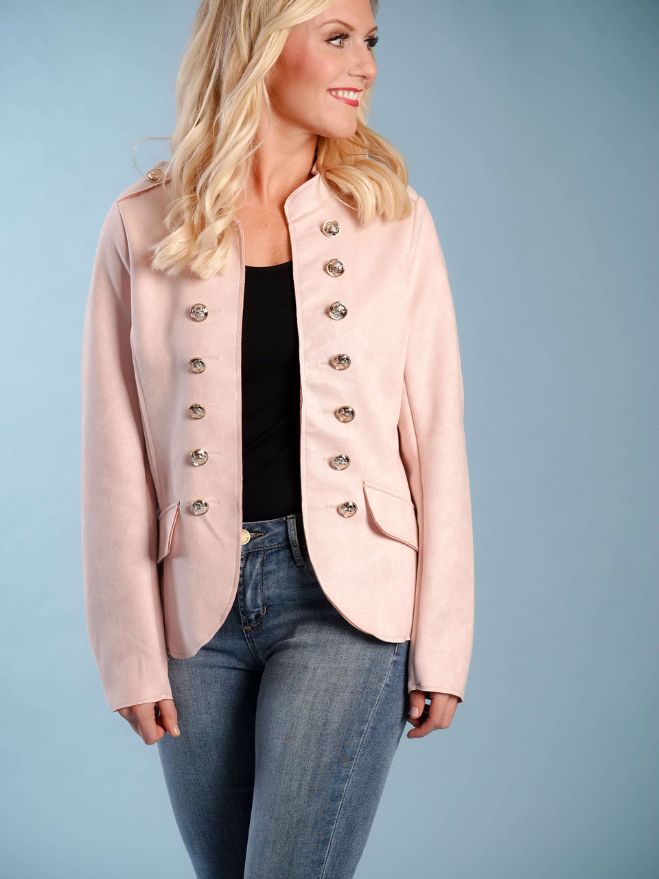 faux suede military jacket gold buttons fitted