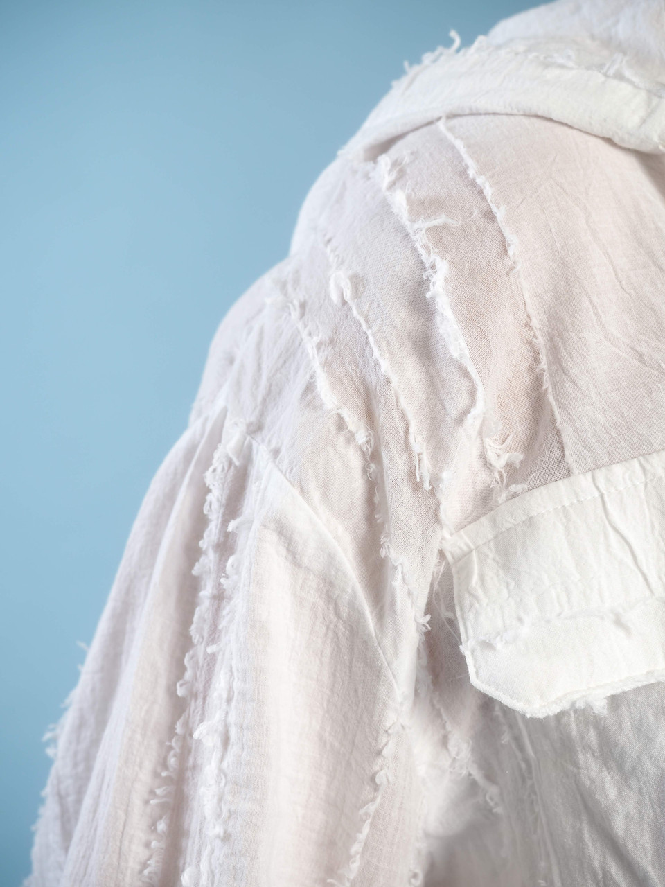 sheer lightweight hoodie button down fringe detail