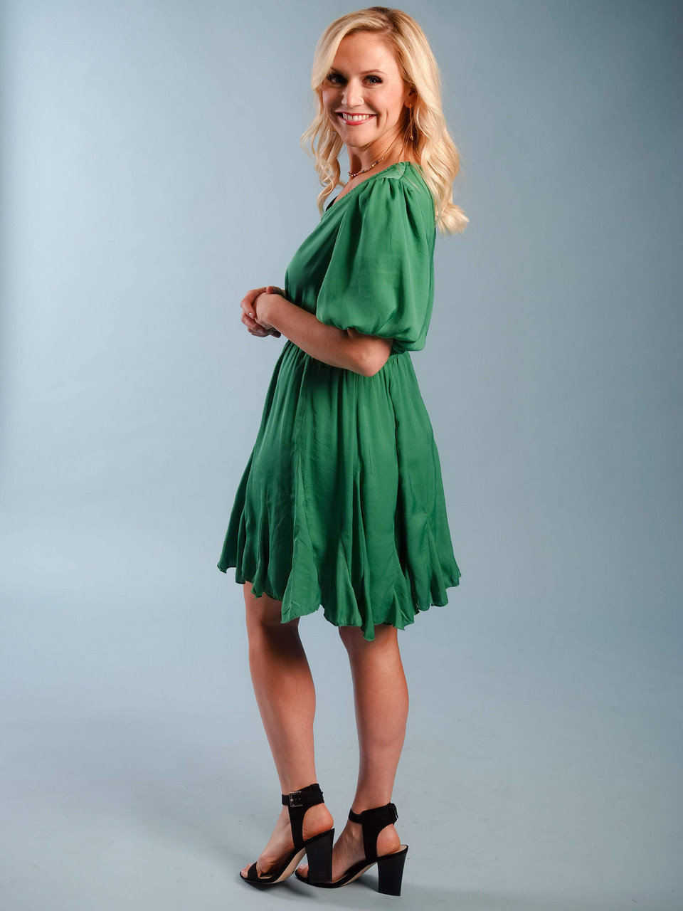 silky green dress elastic waist belted