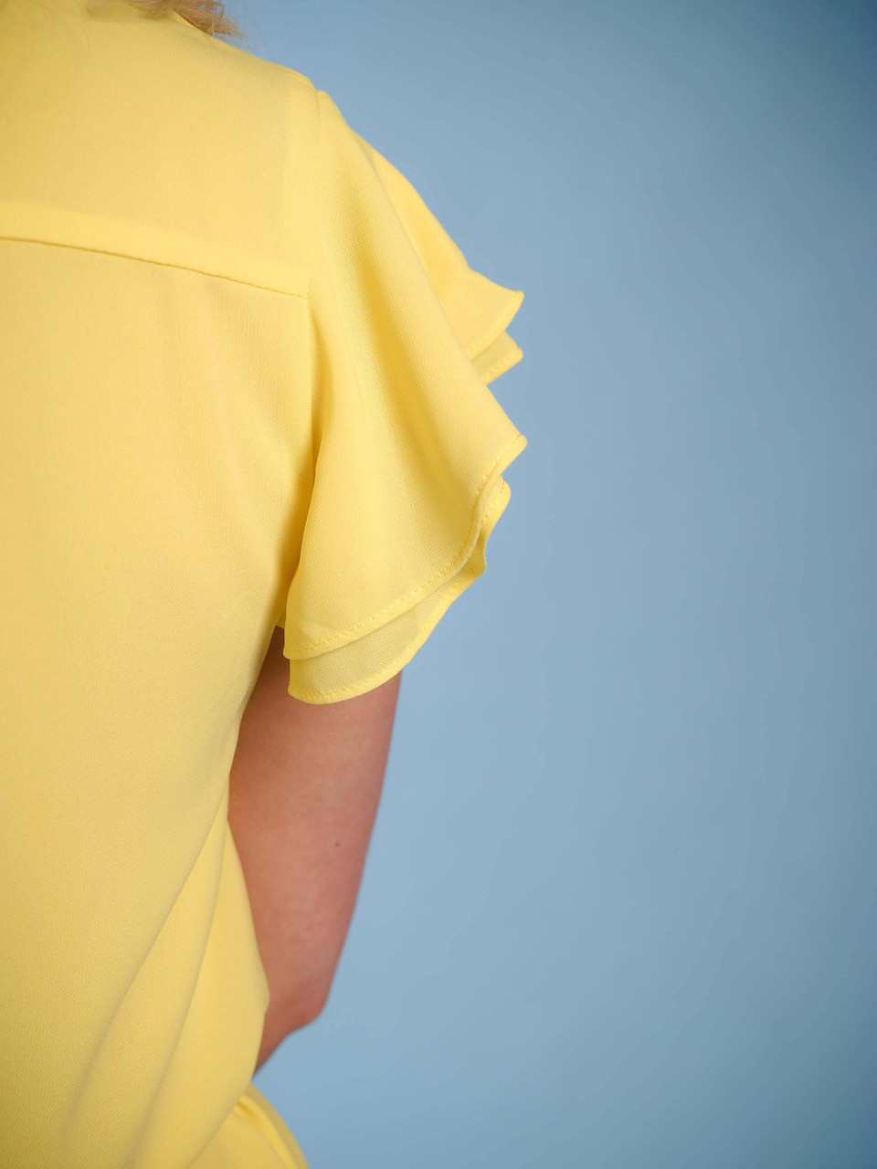 Lined yellow dress V-neck pleated detail belted waist