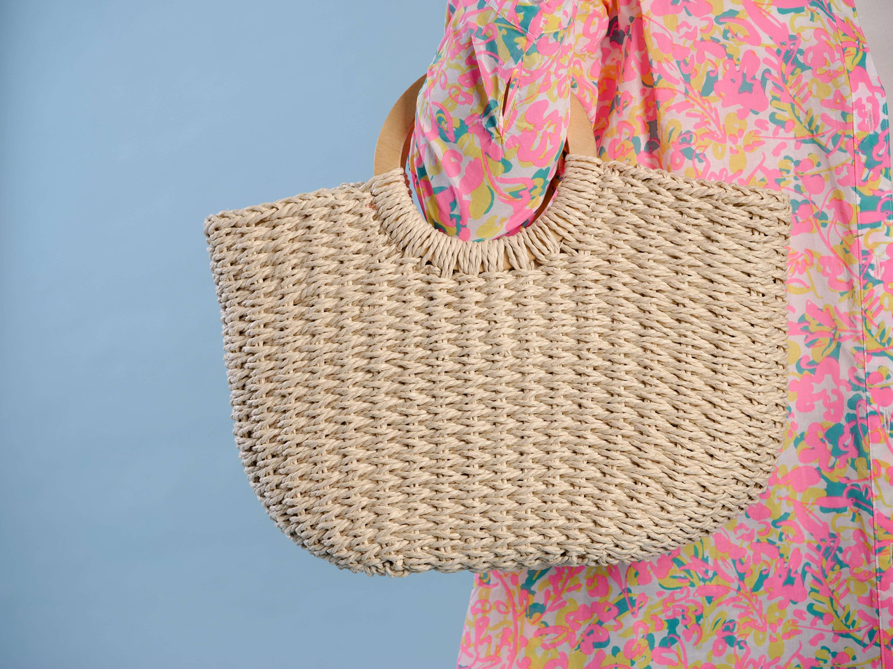 lines straw tote with round wood handles