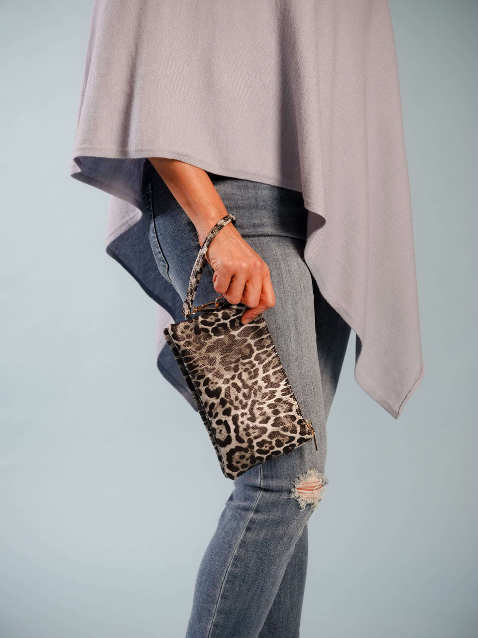 wristlet with adjustable crossbody strap leopard print grey